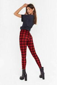 LADIES WOMENS RED TARTAN PRINT STRETCHY LEGGINGS XMAS SIZES UK PLUS SIZE