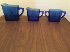 Beautiful Vintage Cobalt Blue Glass Pitcher, Creamer And Sugar