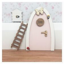 Cute Pastel Pink Fairy Door Personalised and accessories and ladder