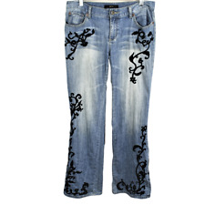 Womens 10 Regular Bootcut Jeans Cotton Stretch Midrise Embroidered Distressed