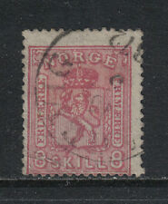 Norway 1867-68 8sk carmine rose Coat of Arms/Lion--Attractive Topical (15) used
