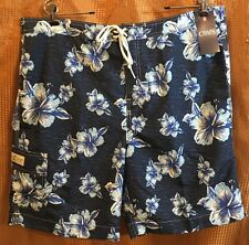 3c83c30d72022 Chaps Mens Swim Board Shorts navy w/ hibiscus flowers lined mens size XL NWT
