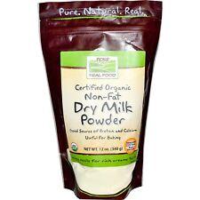 Certified Organic Non-Fat Dry Milk Powder 12oz GMO Free Now Foods Free Shipping