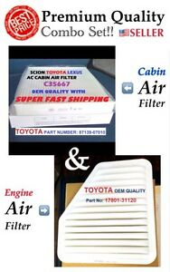 Combo Engine&Cabin Air Filter For CAMRY VENZA Rav4 Vibe ES350 xB tC OEM QUALITY