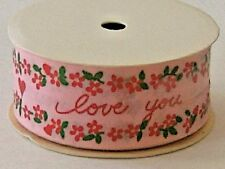 Valentine Ribbon Love You Heart 3 Yards 1.5 inch wide Pink Red Hearts Floral