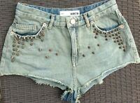 TOPSHOP MOTO .. DIRTY BLUE STUDDED DENIM SHORTS .. UK SIZE 10 W28 71CM EU 38