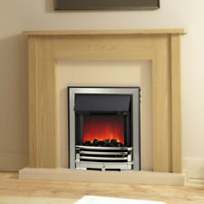 MODERN OAK SURROUND CHROME ELECTRIC FIRE CREAM MARBLE EFFECT FIREPLACE SUITE 2kW