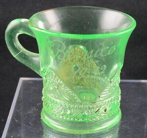 URANIUM YELLOW GREEN EAPG LACY MEDALLION SOUVENIR MUG VASELINE US GLASS TIFFIN