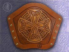 Hand Carved Leather Archery Bracer, Arm Guard. Celtic Cross design