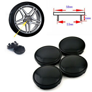 4 PCS 53mm Car Hub Caps Set Anti-theft Decor Wheel Hub Center Cover Black ABS