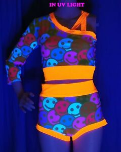 NEW Neon UV Glow 2 Piece Rave Outfit Neon Top + Hotpants size 12