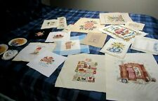 Completed Cross Stitch Crewel Embroidery Needlepoint Pieces Lot of 20 Vtg