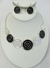 Classic Black & White Circle Swirl Abstract Necklace & Earrings Jewelry Set