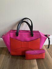Kate Spade 2 Park Avenue Beau Bag Satchel Bow Pink Black With Wallet