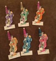 Vintage Lot Of 6 Placecards Japanese Geisha Umbrella W/Baby And Lantern