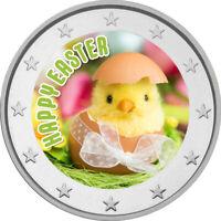 2 Euro Gedenkmünze Ostern coloriert Farbe / Farbmünze / Blumen / Küken im Ei