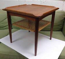 Poul Jensen Selig Denmark Mid Century Modern Square Teak Side Table Cane Shelf!