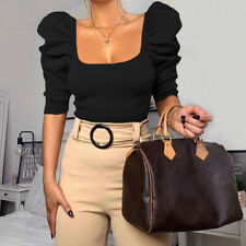 Vintage Puff Sleeve Women Blouse Square Neck Tops Elegant Crop Sexy Slim Shir BD