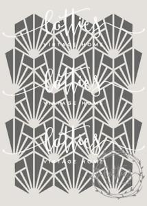 A4 STENCIL - GATSBY 006 Art Deco 1920 PATTERN Fabric Furniture Vintage 190 MYLAR