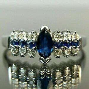 1.35Ct Marquise Cut Blue Sapphire Classic Engagement Ring 14k White Gold Finish