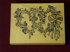 Used Azadi Earles L386 Heart Wreaths Rose Vines Bows Blooms Floral  Rubber Stamp