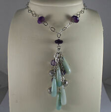 .925 SILVER RHODIUM NECKLACE WITH AMETHYST, PURPLE CRYSTALS AND BLUE QUARTZ