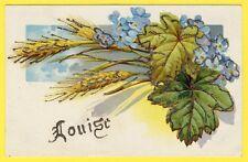 "cpa FANTAISIE Prénom ""LOUISE"" paillette or FANTASY DAY NAME Glitter Gold"