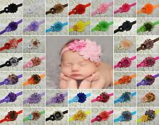 40 PCS Baby Girl Toddler Kids Shabby Flower Headband Hair Bow Band Headwear J40