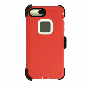 For iPhone 6s+/7+/8+Plus Universal Defender Case w/Clip fit Otterbox Red White