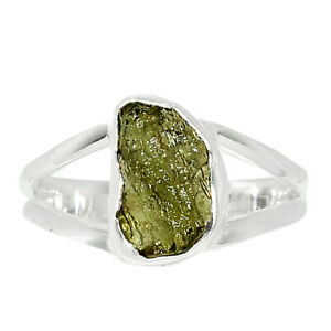 Genuine Czech Moldavite 925 Sterling Silver Ring Jewelry s.8 BR84218