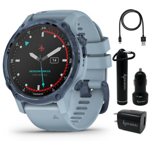 Garmin Descent Mk2S Watch-Style Dive Computer Mineral Blue and Power Pack Bundle