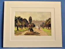 HAMPTON COURT EAST FRONT FROM THE LONG WATER VINTAGE DOUBLE MOUNTED WATER COLOUR