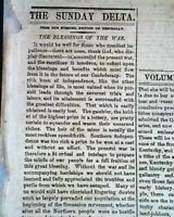 Rare NEW ORLEANS Deep South CONFEDERATE w/ Abe Lincoln Civil War 1861 Newspaper