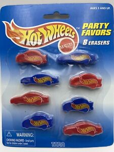 Hot Wheels Party Favors 8 Car Shaped Erasers FREE SHIPPING