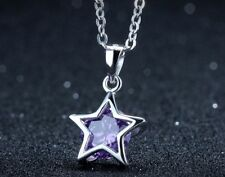 Sterling Silver Purple Amethyst Crystal Star Pendant Chain Necklace Gift Box A21