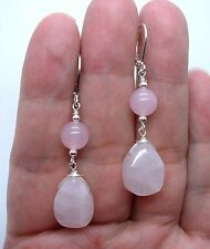 Simple Pink Rose Quartz Sterling Silver  Earrings  A0303