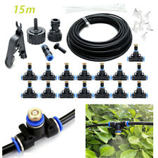 50Ft/15Mm Outdoor Misting Cooling System Garden Water Mister Nozzles Set
