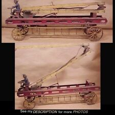 Antique Cast Iron & Pressed Steel Toy Mechanical Ladder Fire Wagon