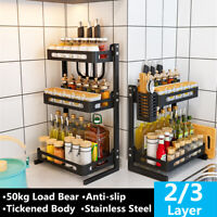 3 Tier Kitchen Spice Rack Stainless Steel Countertop Spice Jars Bottle Shelf