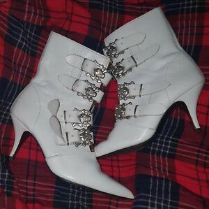 "White ""Underground"" Ankle Boots"