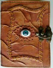 """All Knowing Eye Stitched Leather 5x7"""" Latched Blank Book Journal Diary 120 Pages"""