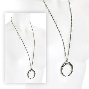 "Beautiful 30"" long Hematite - crystal - diamante horn pendant chain necklace."