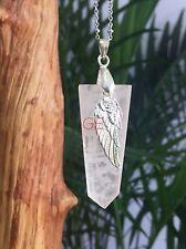 Rose Quartz Pendant With Angle Wing Charm Gemstone Specimen Reiki Chakra Wicca.
