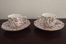 Old Royal Bone China Hand Painted Number GoldLeafed Tea Espressos Cups Saucer