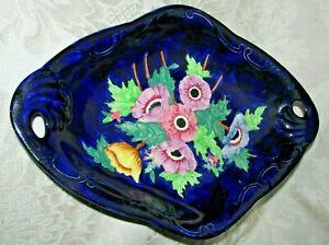 Antique MALING Floral Motif Cobalt Blue Thumb Print Background TABLE PLATE BOWL