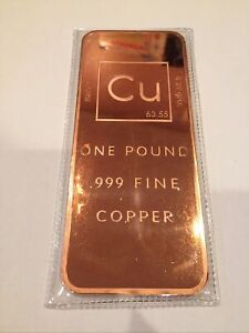 1 (One) Pound .999 Copper Bullion Bar By Unique Metals