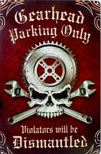 GEARHEAD PARKING ONLY 445H X 295W ALL WEATHER METAL SIGN WITH AN AGED LOOK