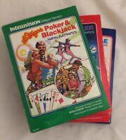 Vtg Intellivision Mattel Electronics Space Battle Night Stalker Poker&Blackjack