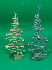 2 Dept 56 Christmas Modern metal with bells spiral Christmas Tree Ornaments