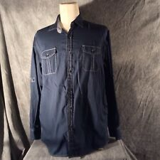 Michael Brandon Blue Large Button Down Shirt with White Stitching and Cuff
